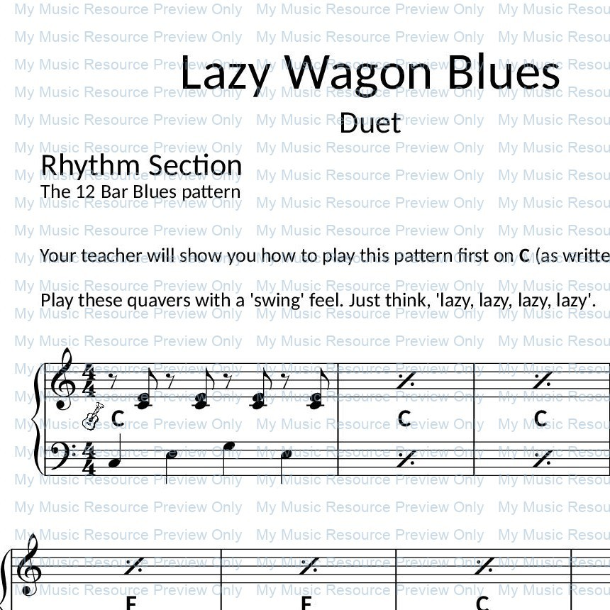 Lazy Wagon Blues from Fun, Games and Party Pieces for Beginner Piano