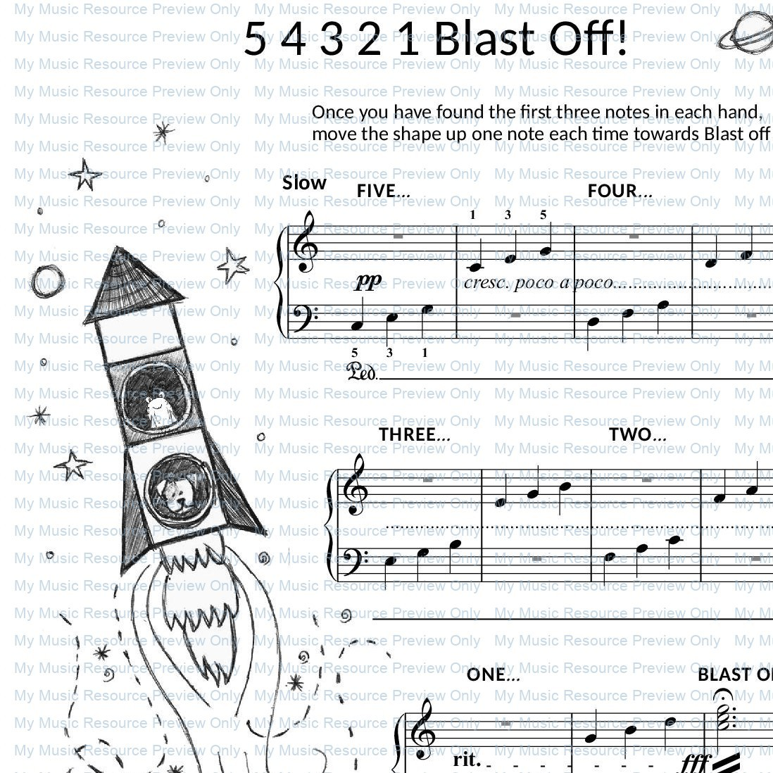 5 4 3 2 1 Blastoff! from Fun, Games and Party Pieces for Beginner Piano
