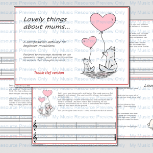 Lovely things about mums – composition activity (treble clef version)