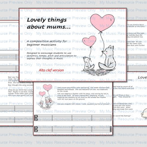 Lovely things about mums – composition activity (alto clef version)