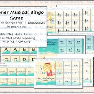 Summer Musical Bingo Game – Note Reading, and Musical Terms and Symbols