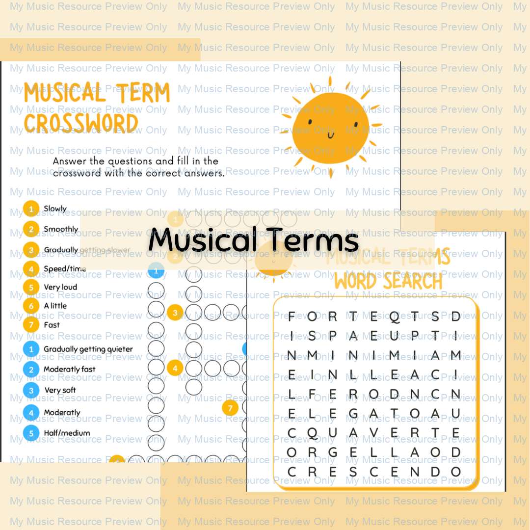 Musical Terms Word-search and Crossword
