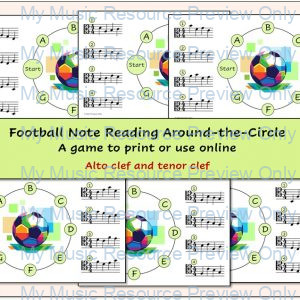 Football Note Reading Around-the-Circle (Alto and Tenor Clef)