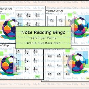 Football Musical Note Reading Bingo