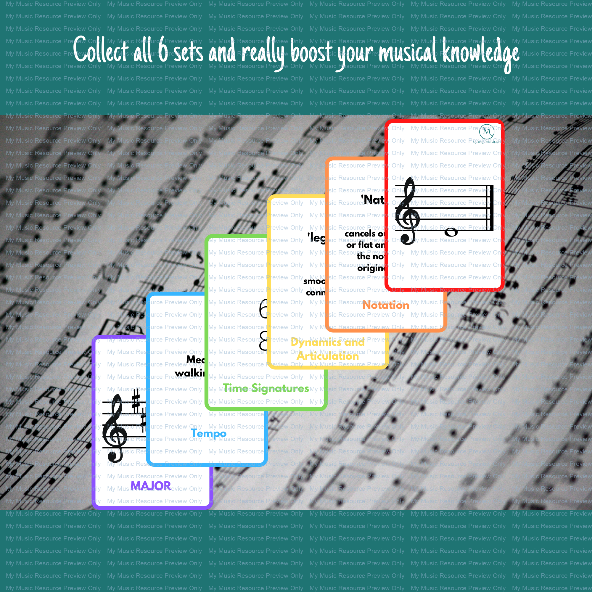 Time Signatures double-sided flashcards – GREEN (part of the rainbow set)