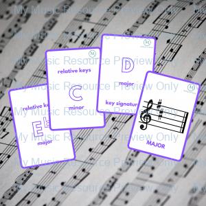 Key Signatures double-sided flashcards – PURPLE (part of the rainbow set)