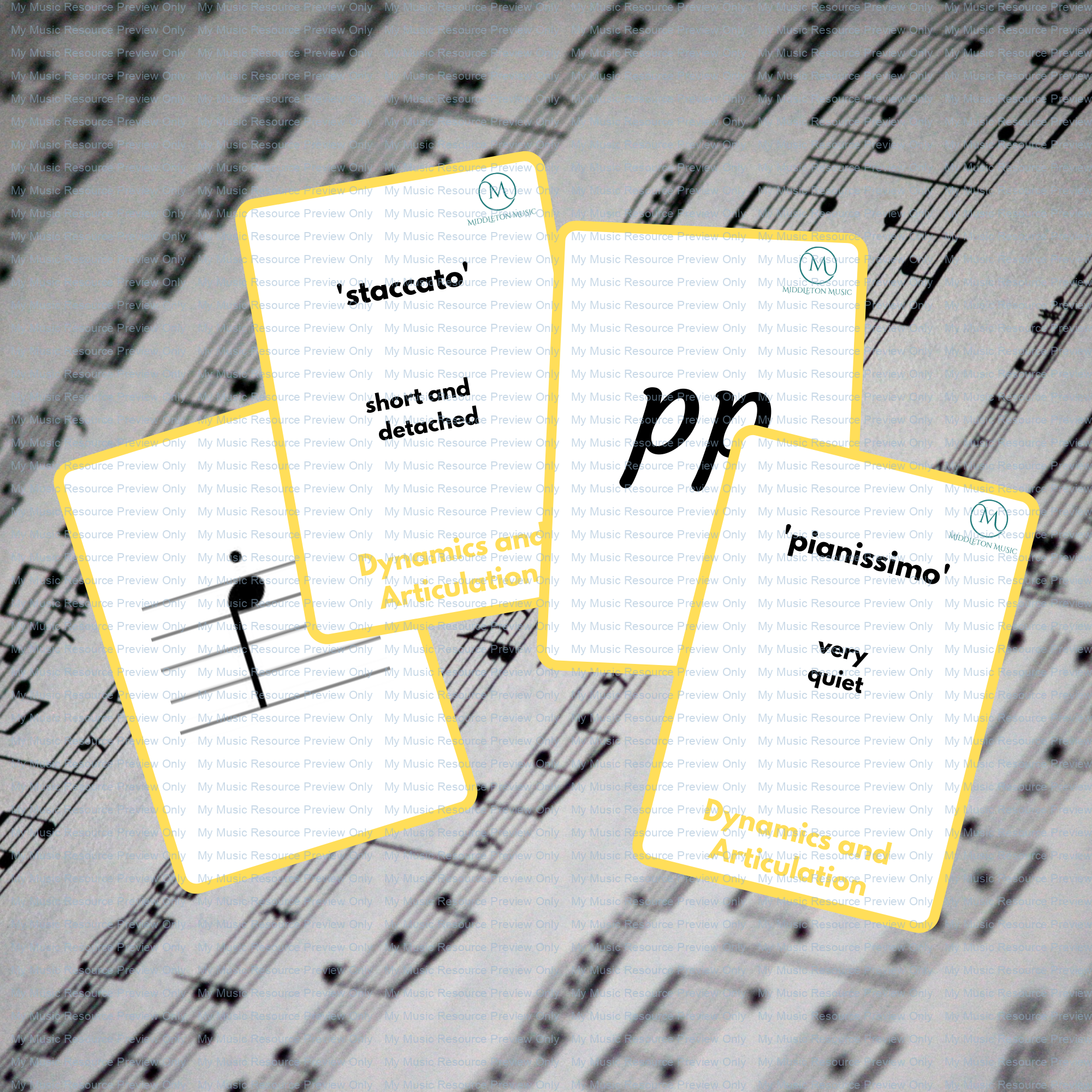 Dynamics and Articulation double-sided flashcards – YELLOW (part of the rainbow set)